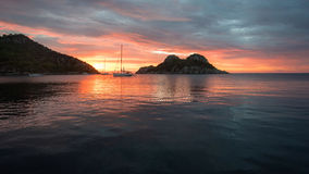 Panoramic view of the sea bay early in the morning Royalty Free Stock Photo