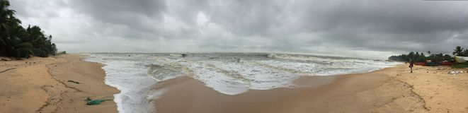 A panoramic view of the sea beach at Kundapura. A scenic and panoramic view of the sea beach at Kundapura Stock Photo