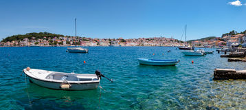 Panoramic view of sea and boats on Mali Losinj bay. In Croatia Royalty Free Stock Photos