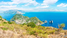 Panoramic view of sea, city and mountains royalty free stock photos