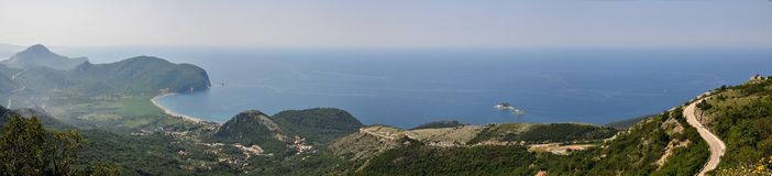 Panoramic view of the sea coast. Montenegro. Panoramic views of the Adriatic Sea royalty free stock image