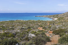 Panoramic view of the sea coast with turquoise water. East coast Royalty Free Stock Photography