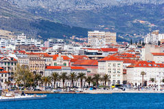 Panoramic view from sea on Croatian city of Split Royalty Free Stock Photography