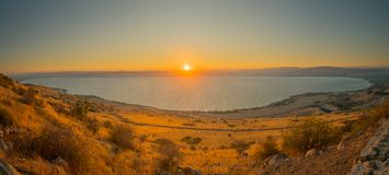 Sea of Galilee the Kinneret lake, at sunset. Panoramic view of the Sea of Galilee the Kinneret lake, from the east, at sunset, Northern Israel Royalty Free Stock Images