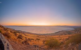 Sea of Galilee the Kinneret lake, at sunset. Panoramic view of the Sea of Galilee the Kinneret lake, from the east, at sunset, Northern Israel Royalty Free Stock Photos
