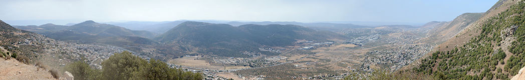 Panoramic view from Sea of Galilee to Mediterranean Sea, Israel Stock Photos