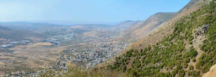 Panoramic view from Sea of Galilee to Mediterranean Sea, Israel Royalty Free Stock Photo