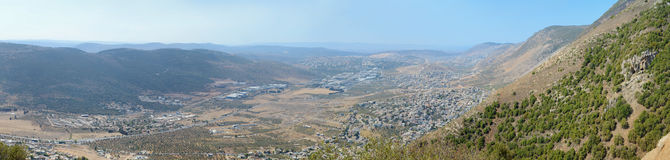 Panoramic view from Sea of Galilee to Mediterranean Sea, Israel Royalty Free Stock Photography