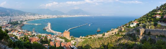 Panoramic view of sea port of Alanya Royalty Free Stock Images