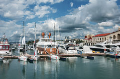 Panoramic view of sea port with a beautiful sky with clouds in Sochi, Russia Royalty Free Stock Image