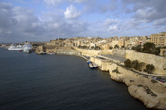 Panoramic view from the sea at Valletta city,Malta. Panoramic view from the sea at Valletta city buildings Stock Image