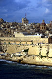 Panoramic view from the sea at Valletta city,Malta. Panoramic view from the sea at Valletta city skyline Royalty Free Stock Photos