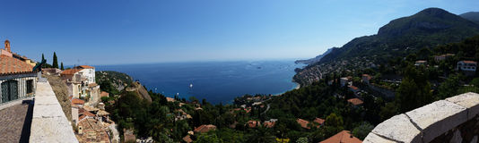 Panoramic view of the sea from the village of Roquebrune Cap Mar Royalty Free Stock Photos