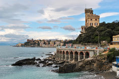Panoramic view of the seafront of Genoa Royalty Free Stock Photo