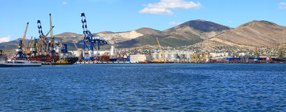 Panoramic view of seaport Royalty Free Stock Photography
