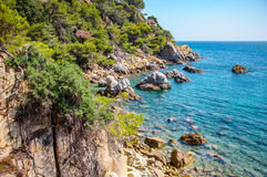 Panoramic view of seashore with rock cliff. In Costa Brava, Spain Royalty Free Stock Images
