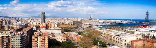 Panoramic view of seaside part of Barcelona from Montjuic Stock Photos
