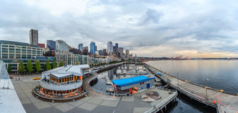Panoramic view of Seattle Downtown and Anthony's Pier 66 royalty free stock photos