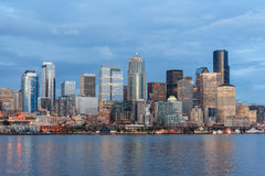 Panoramic view of Seattle Downtown and Space Needle from Puget Sound Stock Photos