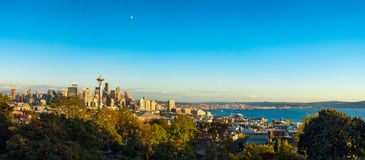 Seattle golden hour panorama Royalty Free Stock Photos