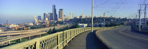 Panoramic view of Seattle, WA skyline in morning royalty free stock photo