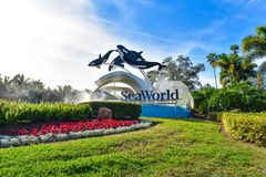 Panoramic view of Seaworld sign in International Drive area. Orlando, Florida. December 19, 2018. Panoramic view of Seaworld sign in International Drive area stock images