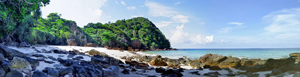 Panoramic view of a secluded beach on Kradan island Royalty Free Stock Photo