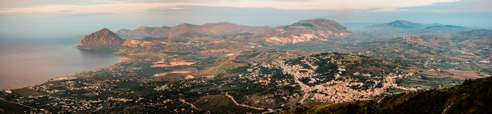 Panoramic view seen from Erice Mountain Sicily, Italy. royalty free stock photo