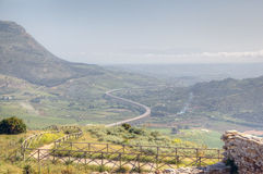 Panoramic view of Segesta valley. Royalty Free Stock Photos