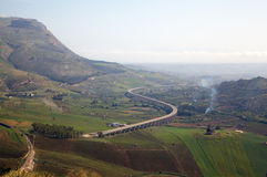 Panoramic view of Segesta valley. Royalty Free Stock Photo