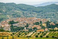 Panoramic view of Seggiano, in Tuscany Stock Photo