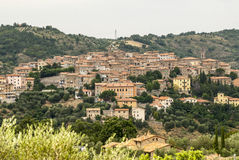 Panoramic view of Seggiano, in Tuscany Stock Photos