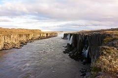panoramic view of selfoss waterfall stock image