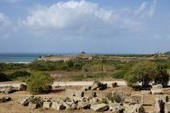 Panoramic view of Selinunte acropolis Royalty Free Stock Images