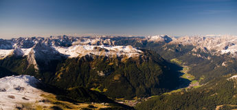 Panoramic view from Sella. Dolomites, Italy Stock Images