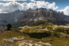 Panoramic view of Sella Group in Dolomites Royalty Free Stock Photography