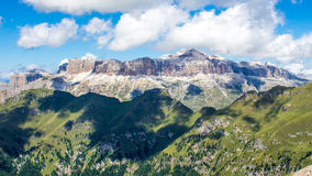 Panoramic view of the Sella group, a massif in the Dolomites mou Royalty Free Stock Image