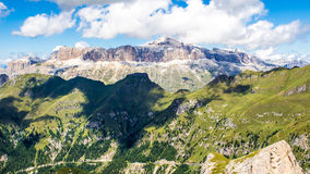 Panoramic view of the Sella group, a massif in the Dolomites mou Stock Photos