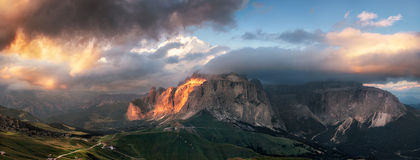 Panoramic view of Sella group mountain Royalty Free Stock Photos