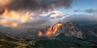 Panoramic view of Sella group mountain Royalty Free Stock Photo