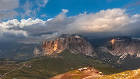 Panoramic view of Sella group mountain Stock Image