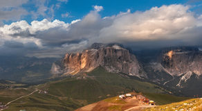 Panoramic view of Sella group mountain Stock Photos