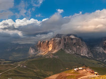 Panoramic view of Sella group mountain Stock Photo