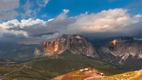 Panoramic view of Sella group mountain Royalty Free Stock Images