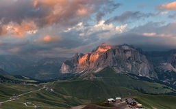 Panoramic view of Sella group mountain Stock Photography