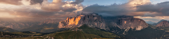 Panoramic view of Sella group mountain Stock Images
