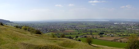 Picturesque Gloucestershire - Severn Vale. Panoramic view from Selsey Common towards the River Severn and the Forest of Dean over a patchwork of fields in The Stock Photos