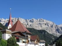 Panoramic view of Selva di Val Gardena, South Tyrol , Alto Adige - Italy with Dolomites background.  stock photo