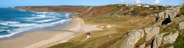 Panoramic view of Sennen and Cape Cornwall. Royalty Free Stock Image