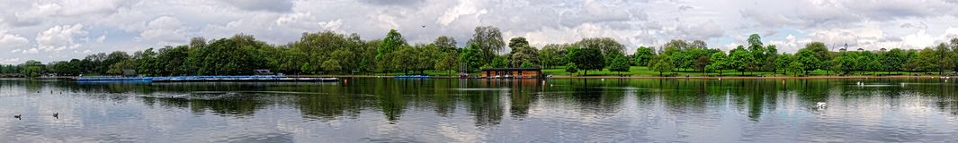 A Panoramic View of The Serpentine, Hyde Park, London Royalty Free Stock Photo